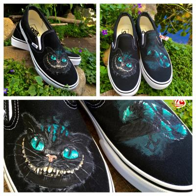 730cbfb2fb Cheshire Cat Custom Hand-Painted Vans. Acrylic